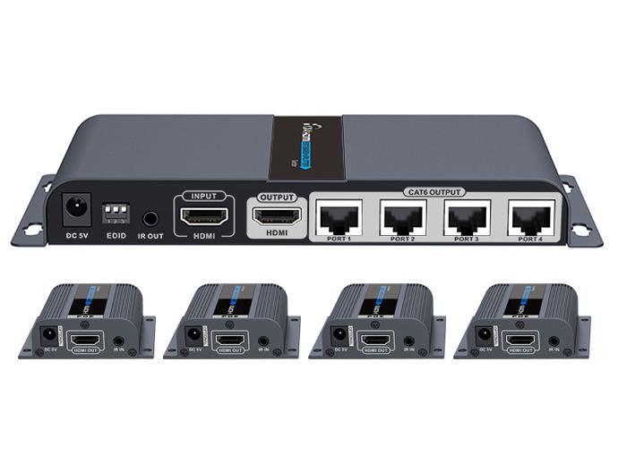 PREMIUMCORD HDMI 1-4 splitter+extender po CAT6/6a/7, FULL HD, 3D