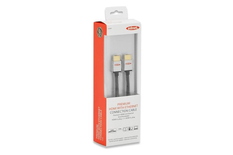 Ednet Premium HDMI High Speed + Ethernet, 4K/Ultra HD a 3D, připojovací kabel, typ A, M/M, 1m, UL, bavlna, zlacené konek
