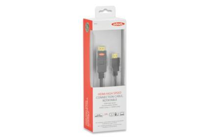 Ednet HDMI High Speed + Ethernet připojovací kabel, typ A, rotační, M/M, 2m, Ultra-HD, UL, bavlna, zlacené konektory