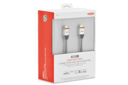 Ednet HDMI High Speed + Ethernet připojovací kabel, typ A, se zesilovačem, 15m, UL, bavlna, zlacené konektory