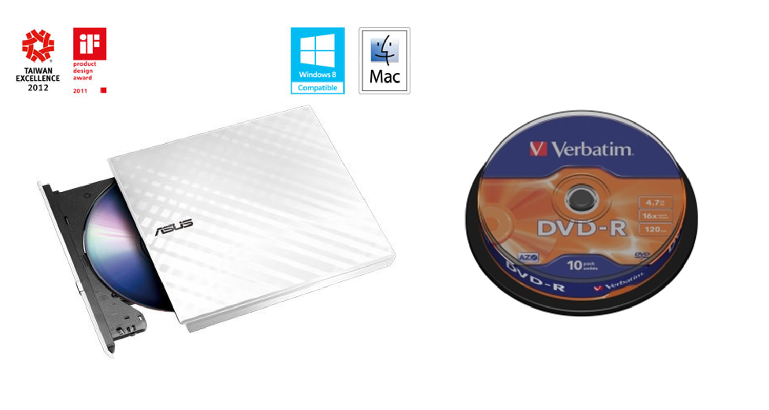 BUNDLE ASUS DRW-08D2S-U WHITE+ Verb. DVD-R 10cake