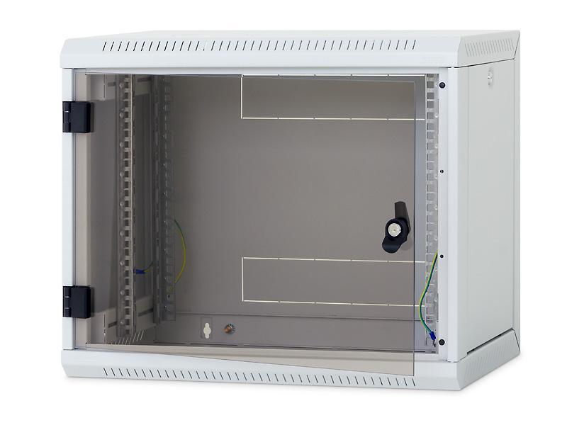 Nástěnný rack RUA 12U/600mm, perforované dveře, odnímatelné bočnice