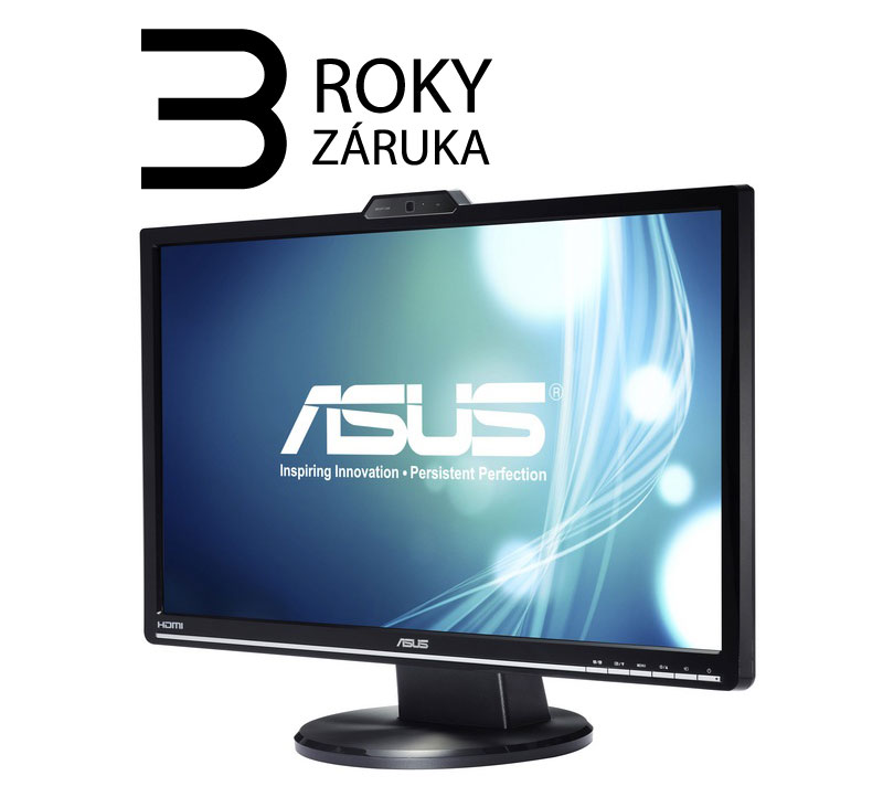 "ASUS MT 24"" VK248H 1920x1080, LED, D-SUB, DVI, HDMI, 2ms, 250cd, VESA 100x100, repro, HD webcam, black"