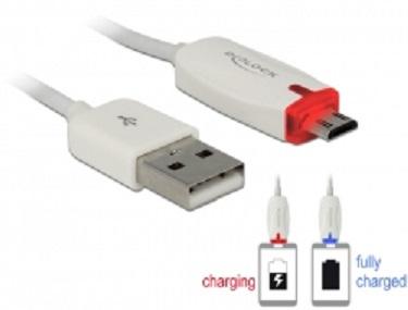 Delock datový a napájecí kabel USB 2.0-A samec > Micro USB-B samec s LED indikátorem, bílý