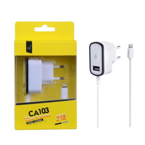 Aligator Nabíječka PLUS CA103, kabel pro iPhone5 + USB výstup 5V/2,1A - černá