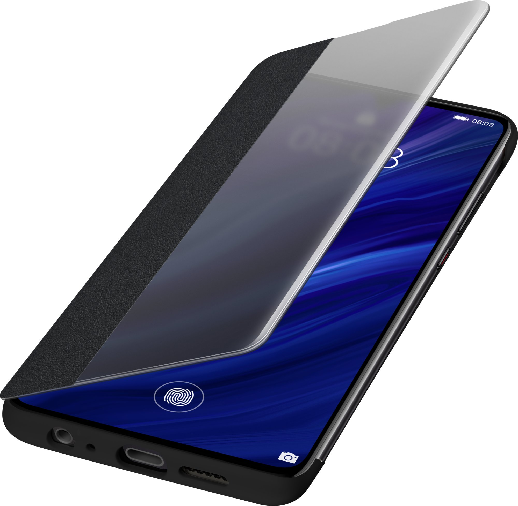 Pouzdro Huawei Original S-View P30 černé Smart View Flipové pouzdro