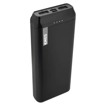Emos Powerbank ALPHA 20000 mAh, USB-C/micro USB, 2A, černá