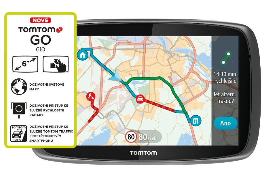 "TOMTOM GO 610 World Traffic Lifetime, 6"" displej !"