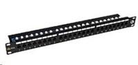 Solarix Patch panel 24 x RJ45 CAT5E UTP s vyvaz. lištou černý 1U SX24L-5E-UTP-BK