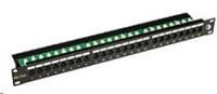 Solarix Patch panel 24 x RJ45 CAT6 UTP s vyvazovací lištou černý 1U SX24L-6-UTP-BK