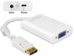 Delock Adapter Displayport 1.1 samec > VGA samice + Audio + napájení - white