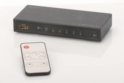 Digitus 4K HDMI přepínač 5x1,, Podporuje 4K2K, 3D video formáty, vč dálkového ovládání, černý