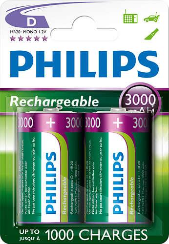 Philips dobíjecí baterie D 3000mAh, NiMH - 2ks
