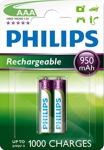 Philips dobíjecí baterie AAA 950mAh, NiMH - 2ks