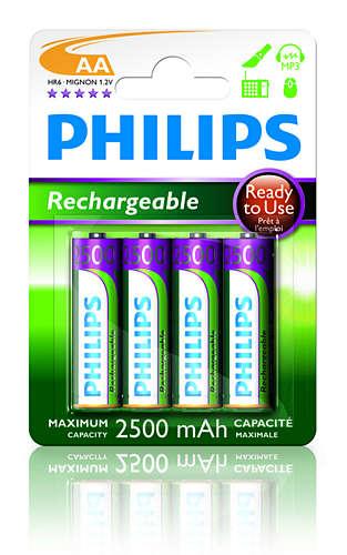 Philips dobíjecí baterie AA 2500mAh, NiMH - 4ks
