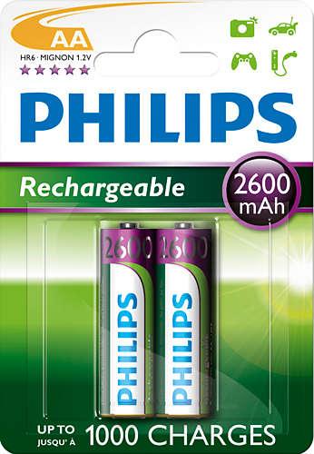 Philips dobíjecí baterie AA 2600mAh, NiMH - 2ks