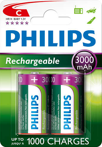 Philips dobíjecí baterie C 3000mAh, NiMH - 2ks