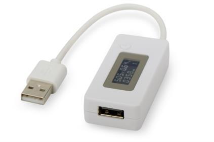 Digitus USB Měření napájení, Vsup / výstup: 3-7V/ 50 až 3500 mA LCD indikátor, bílá
