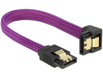 Delock SATA kabel 6 Gb/s, 10 cm otočený dole/rovný, kovové svorky, fialový Premium