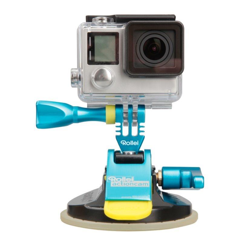 Rollei M1 Suction Cup - Modrý hliníkový přísavný držák pro kamery GoPro a Rollei, přilnavost až do 300 km/h