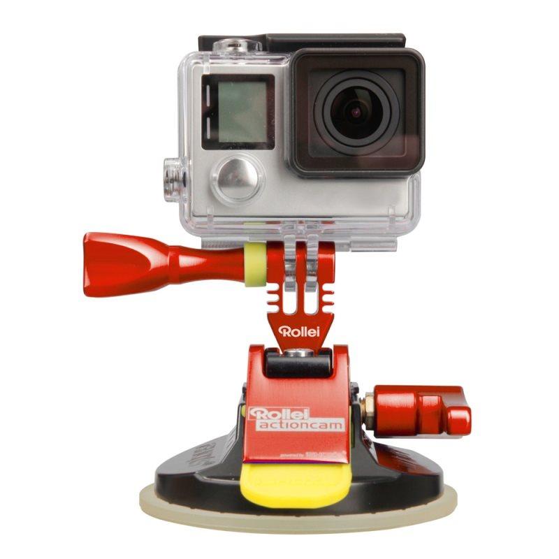 Rollei M1 Suction Cup - Červený hliníkový přísavný držák pro kamery GoPro a Rollei, přilnavost až do 300 km/h
