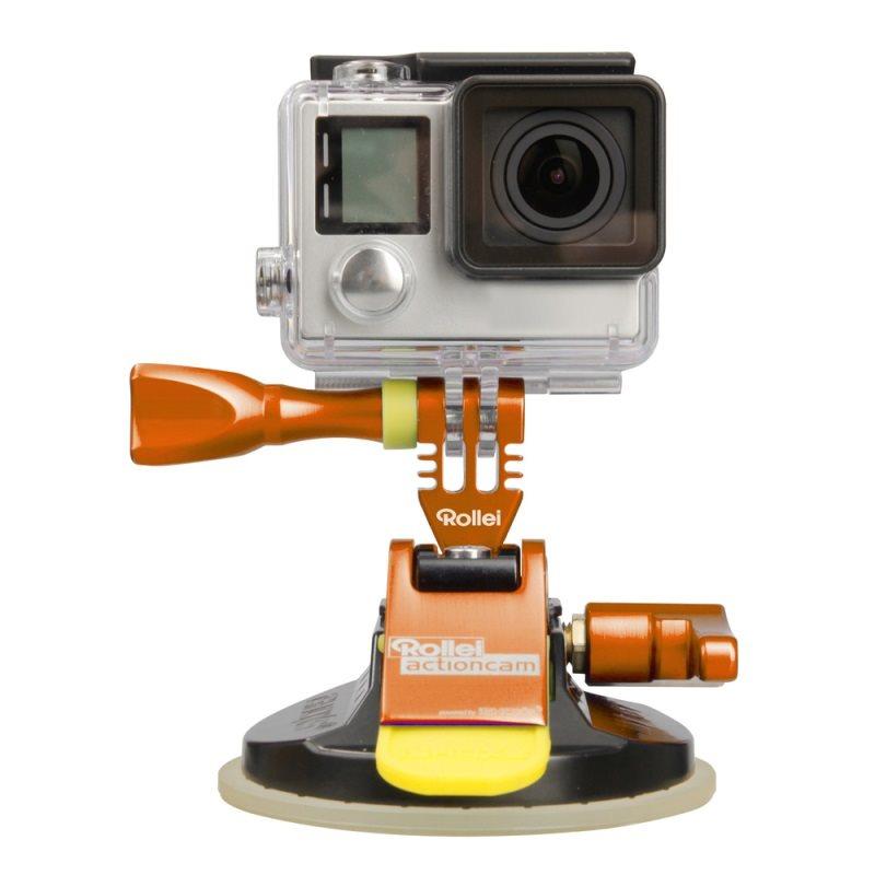 Rollei M1 Suction Cup - Oranžový hliníkový přísavný držák pro kamery GoPro a Rollei, přilnavost až do 300 km/h
