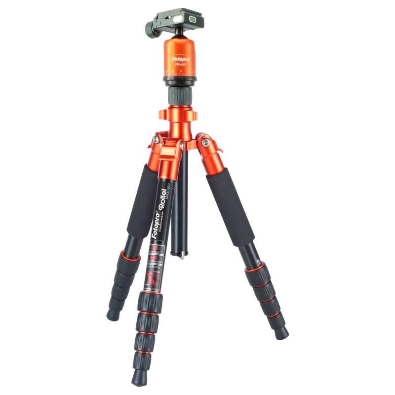 Rollei Stativ Compact Traveler No. 1 + Hlava FPH-53P/ Zátěž 5kg/ Vytažený 140cm/ Oranžový