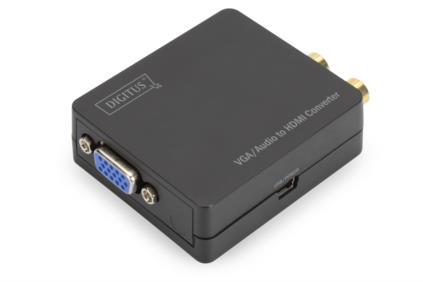 Digitus Video Převodník VGA / audio na HDMI, Video s rozlišením až 1920x1080 pixelů (Full HD), malý kryt, černý