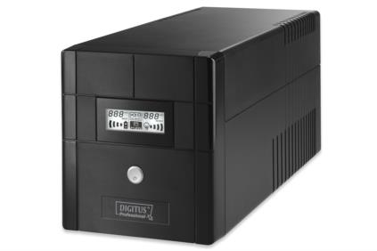 DIGITUS Line-Interactive UPS, 1000VA/600W, 12V/7Ah x2 battery, 4x Schuko, AVR, USB, RS232, RJ11/RJ45, LCD display