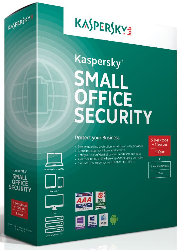 Kaspersky Small Office Security 4 CZ, 5-9 PC, 1 Server + zdarma 5-9 Android, 3 roky, nová licence, elektronicky