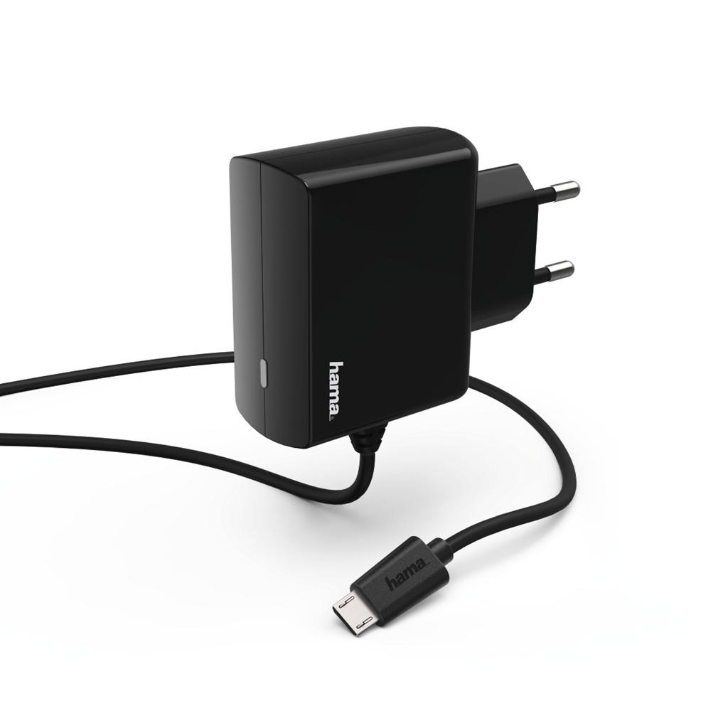 Hama síťová nabíječka s kabelem, micro USB, 2,4 A