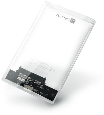 "CONNECT IT ToolFree Clear externí box pro HDD 2,5"" SATA, USB 3.0, TRANSPARENTNÍ"