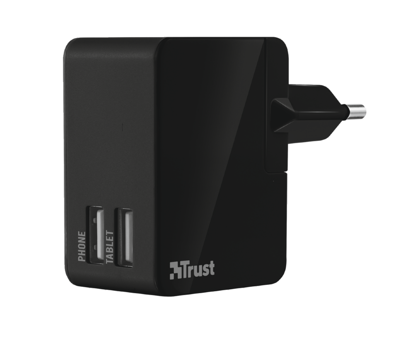 TRUST USB nabíječka International travel charger with 2 USB ports