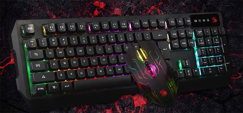 A4tech Bloody Q1300 herní set podsvícené klávesnice s myší, USB