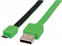 MANHATTAN Flat Micro-USB Cable 1.8 m (6 ft.), Black/Green