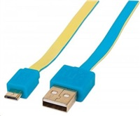 MANHATTAN Flat Micro-USB Cable 1 m (3 ft.), Blue/Yellow