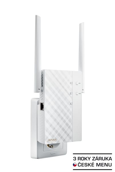 ASUS RP-AC56 Wireless AC1200 Dualband Range Extender, AP/repeater přímo do zásuvky, 1x gigabit RJ45