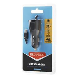 CANYON Univerzální 1xUSB auto nabíječka s micro USB kabelem, Input 12V-24V, Output 5V-2.4A, Smart IC, černá