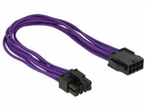 Delock prodlužovací napájecí kabel 8 pin EPS samec > 8 pin EPS samice textilní stínění fialový