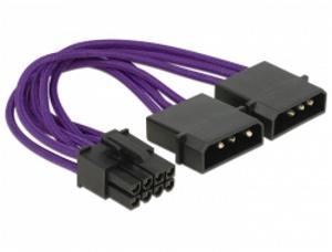Delock napájecí kabel PCI Express 8 pin samec > 2 x 4 pin samec textilní stínění fialové