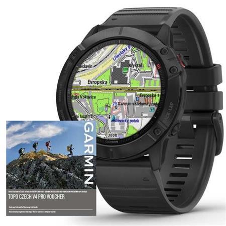 Garmin GPS sportovní hodinky fenix6X PRO Glass, Black/Black Band (MAP/Music)
