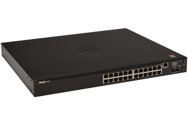 Dell Networking N2024 L2 24x 1GbE + 2x 10GbE SFP+ fixed ports Stacking IO to PSU airflow AC/Lifetime Limited Hardware Wa