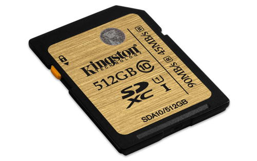 KINGSTON 512GB SDXC Class 10 UHS-I 90MB/s read 45MB/s write Flash Card