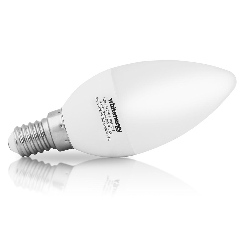 WE LED žárovka SMD2835 C30 E14 5W bílá mléčná