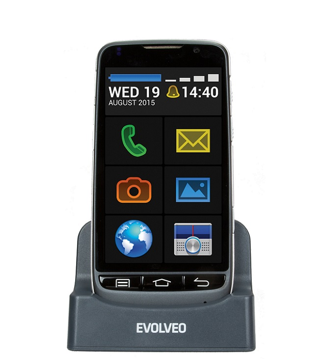 EVOLVEO EasyPhone D2, Android smartphone pro seniory se snadným ovládáním a nabíjecím stojánkem