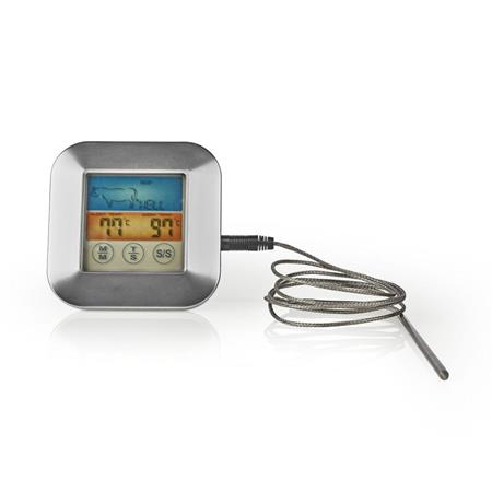 Nedis KATH106SI - Teploměr na Maso | 0–250 °C | Barevný Displej | Časovač