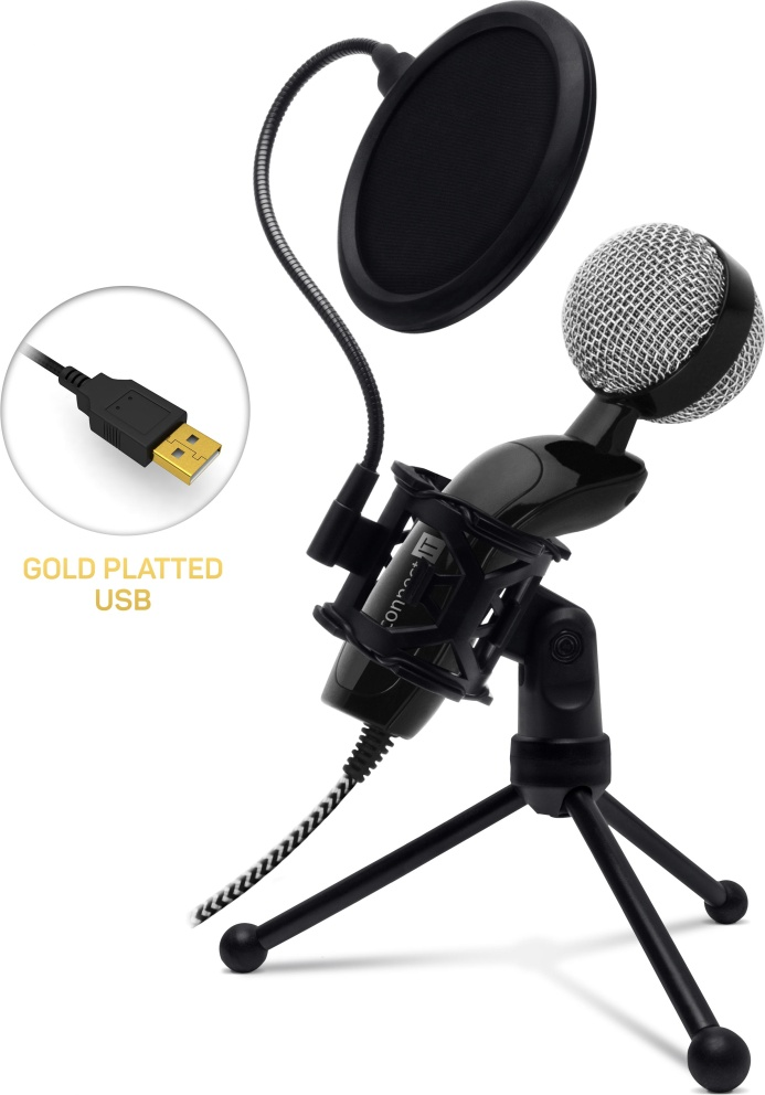 CONNECT IT YouMic Plus mikrofon USB s POP filtrem, pozlacený konektor USB