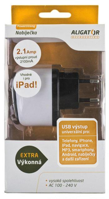 Aligator nabíječka USB výstupem 5V 2,1A bílá