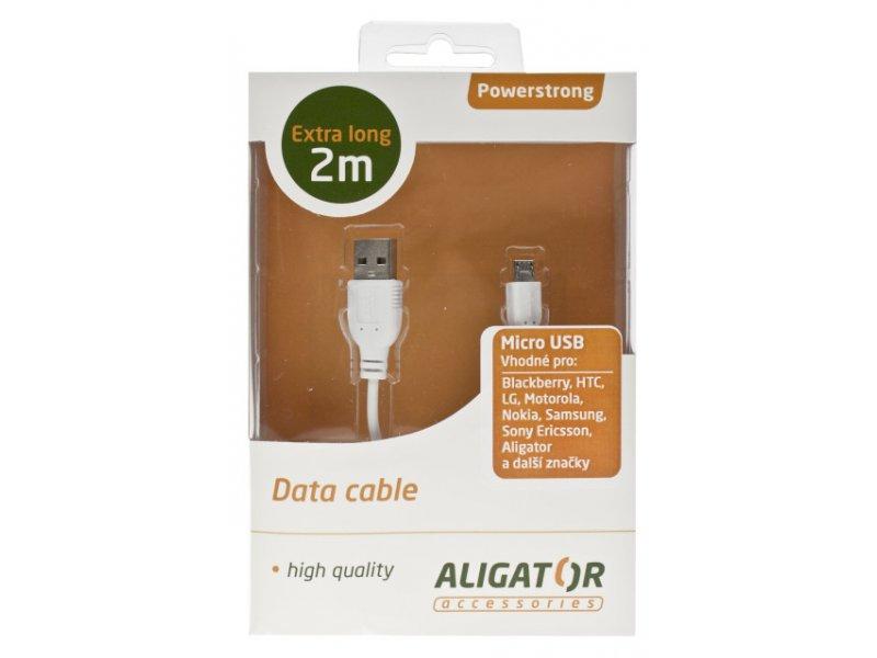 Datový kabel USB Powerstrong microUSB, extra dlouhý - 2m, bílý