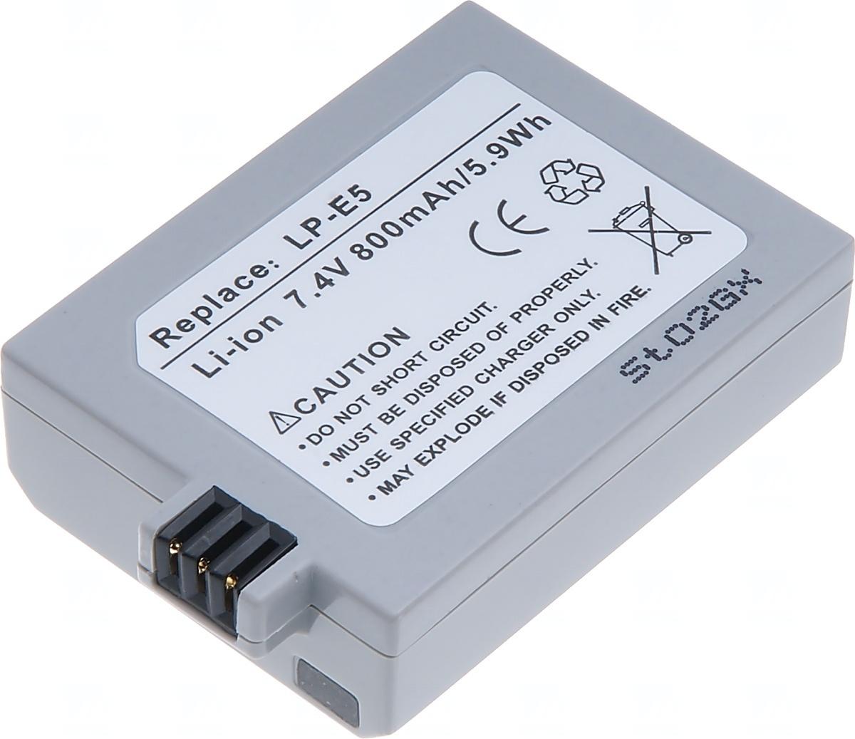 Baterie T6 power Canon LP-E5, 850mAh, šedá
